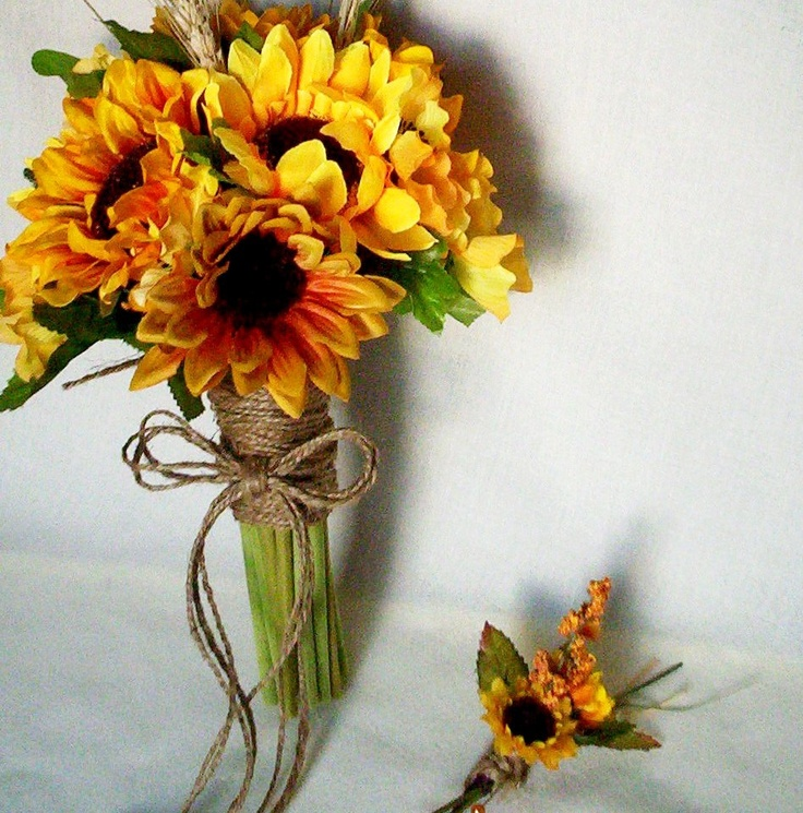 Wedding Sunflower Bridal Bouquet 4 Piece Set Headwreath Boutonniere Wheat twine wrap Fall weddings