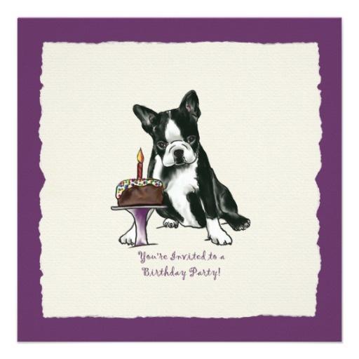 Boston Terrier Birthday Invite