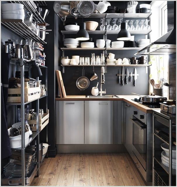 Inspiration from IKEA - i love the idea of an open shelved chef's/baker's kitchen!