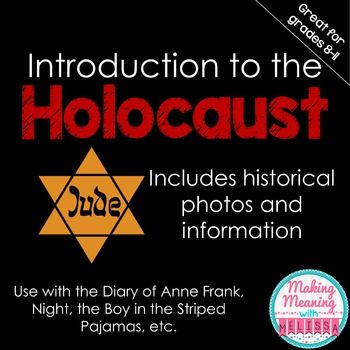 This powerpoint gives unfamiliar students an overview of the Holocaust, using graphic pictures and informative captions.A great intro activity to a Holocaust history lesson or novel study.I use it before teaching my Night unit, which you can see here:Night Novel UnitYou may also be interested in my powerpoint introducing the Social and Historical Context of To Kill a Mockingbird:To Kill a Mockingbird Social and Historical Context