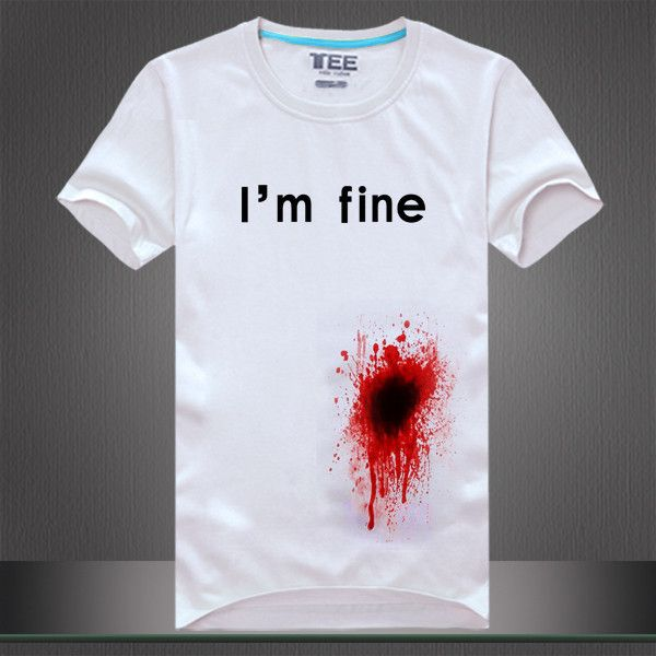 "Fashion new men/women's tee shirt print ""i'm fine"" blooded funny t... (125 SAR) ❤ liked on Polyvore featuring men's fashion, men's clothing, men's shirts, men's t-shirts, mens summer shirts, mens short sleeve t shirts, mens leopard print t shirt, mens cotton shirts and mens t shirts"