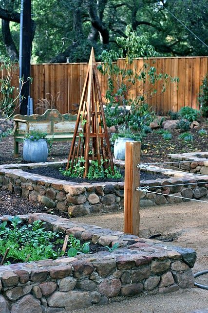 raised beds, i'd like to see these as dry stacked. Loving the idea of stone for the thermal storage during the cooler months.
