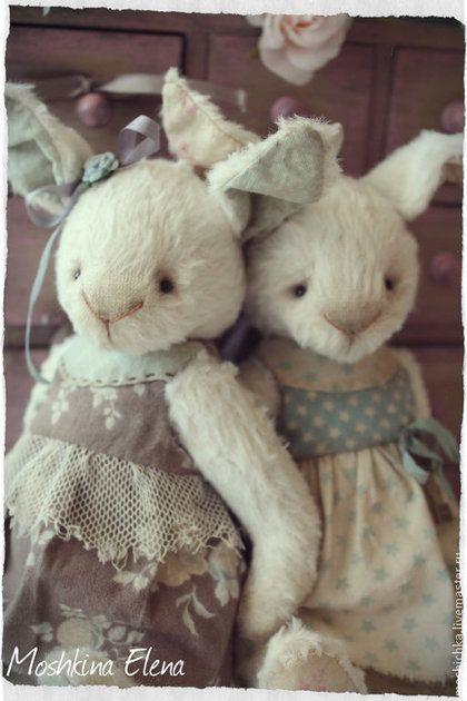 Подружки - белый,бирюза и шоколад,кроля,кроличка тедди,кроличка винтаж