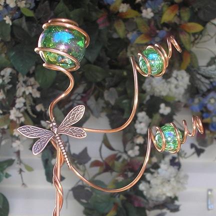 Dragonfly Plant Stake Copper Garden Art Metal Glass Yard Decor Handmade Green