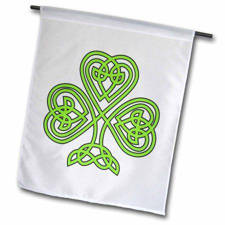 3dRose Celtic Shamrock, Garden Flag, 18 by 27-Inch