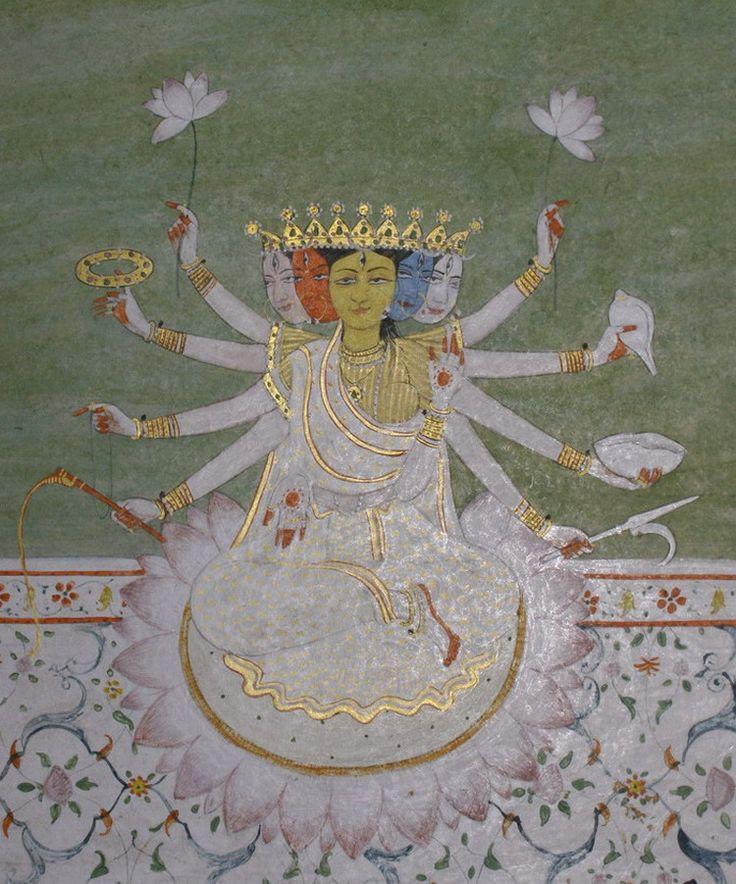 www.IndianMiniaturePaintings.co.uk - Devi (goddess) Gayatri. Kangra circa 1880. Opaque watercolour with gold on wasli. 23.7 x 15.5cm