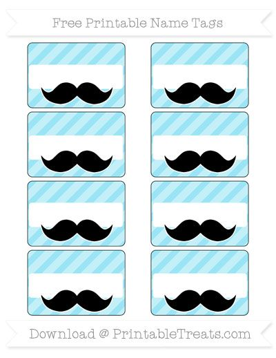 Pastel Aqua Blue Diagonal Striped Mustache Name Tags