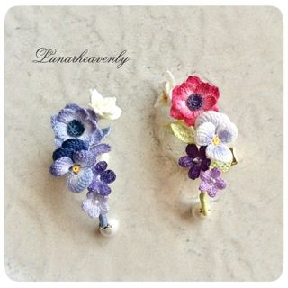 Lunar.h 百合、アネモネ、パンジー、菫のイヤーカフ(片耳用) 各¥7,000
