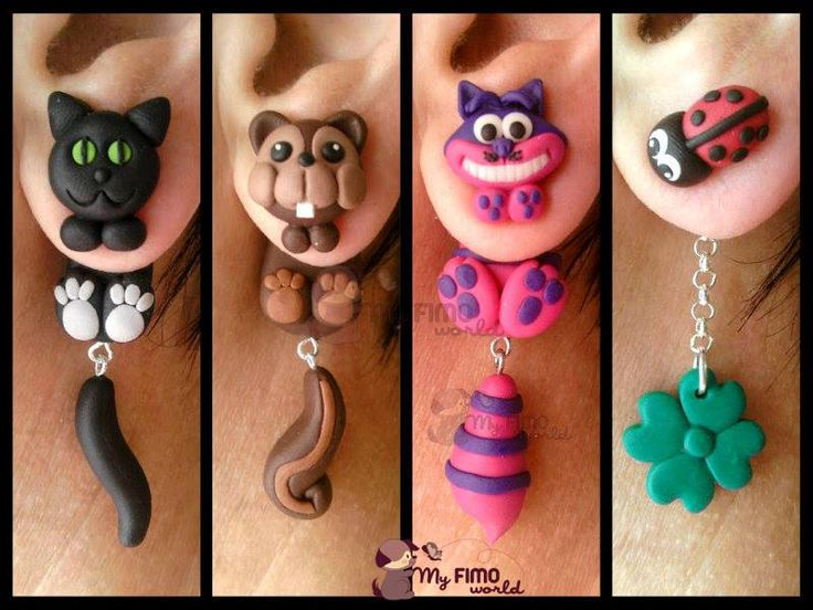 Polymer clay earrings Cheshire Cat Alice in wonderland