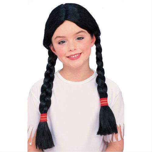 Childrens' Black Braided Wig - Sport some black braids with your next children's Halloween costume. These clack braids are a perfect chest length with red and gold ties. The wig is slightly smaller, that makes it a kids wig. Use with Native American costumes, a storybook character or Wednesday from the Adams Family. #yyc #costume #wig #kids #braids