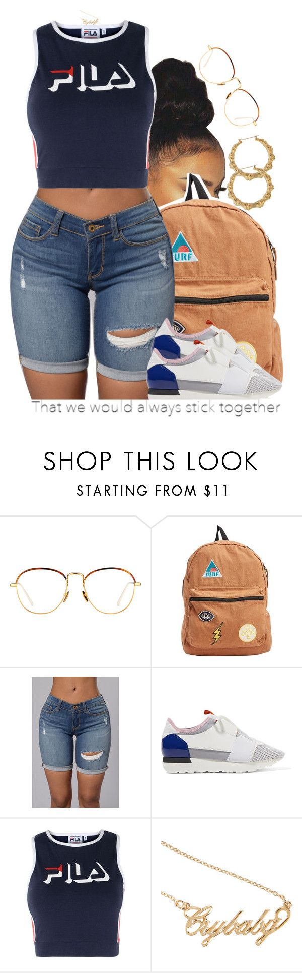 """fourth of july look."" by trinityannetrinity ❤ liked on Polyvore featuring Linda Farrow, Billabong, Balenciaga, Fila and Hot Topic"