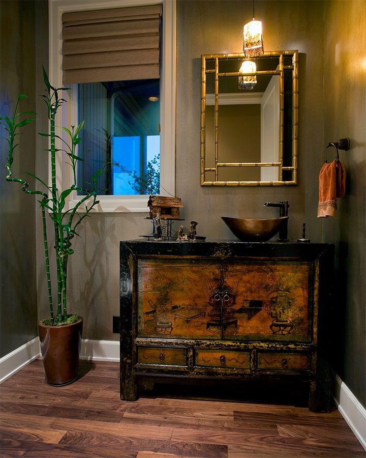Asian-inspired  wooden vanity, bamboo style mirror frame in Asian-Inspired Bathroom Interior Ideas @ www.FancyFads.com