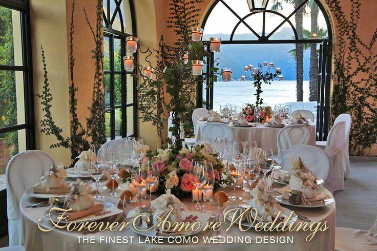 Elegant Villa Balbianello wedding reception, Loggia Segrè indoor space. Event by ForeverAmoreWeddings © #foreveramoreweddings #villabalbianelloweddings