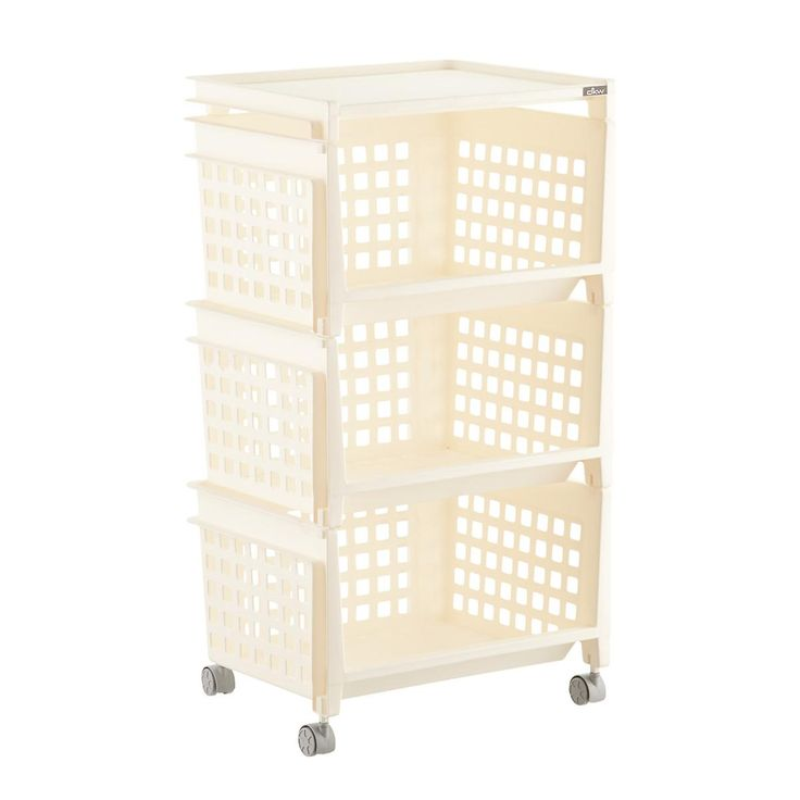 Cream 3-Tier Plastic Storage Bin with Wheels https://www.containerstore.com/s/storage/plastic-bins-baskets/cream-3-tier-plastic-storage-bin-with-wheels/12d?productId=11005721&theme=rolling%20bins&pos=15