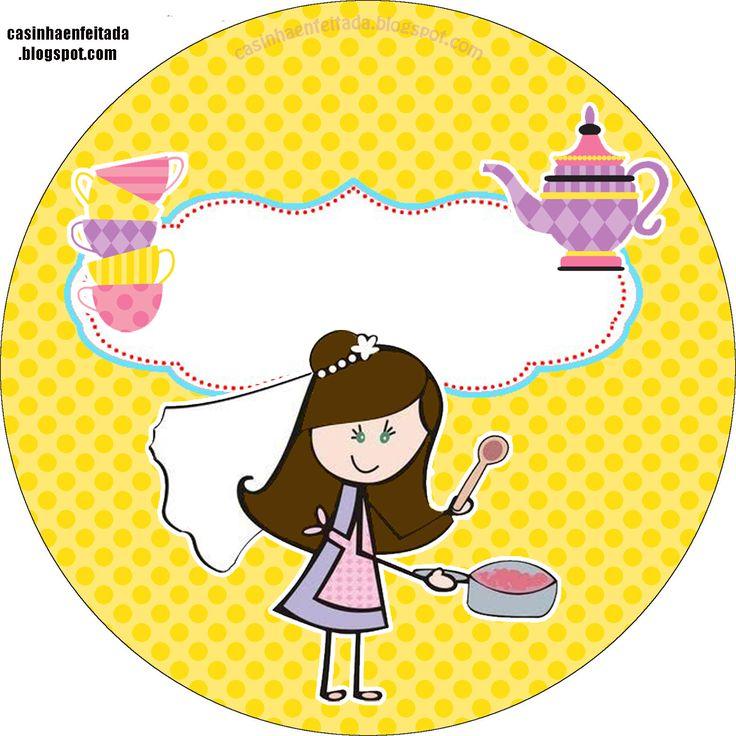 Princesas de Branco: Kit Chá de Cozinha Lilás e Amarelo Para Imprimir Grátis