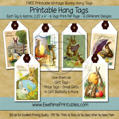 70 best ideas easter tags images on pinterest easter card gift free printable vintage easter bunny tags from ewenmeprintables negle Choice Image