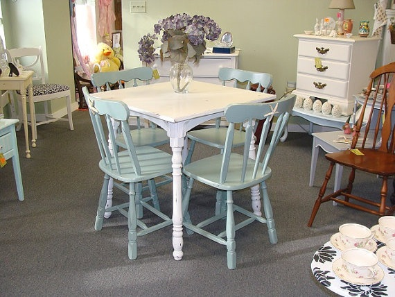 best Painted Dining Room Table and Chairs  on Pinterest