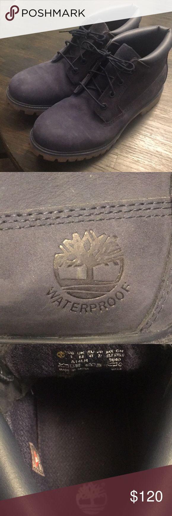 Men's Navy Timberland Boots Waterproof Never worn. Size 9. Waterproof. Navy Leather. Timberland Shoes Boots