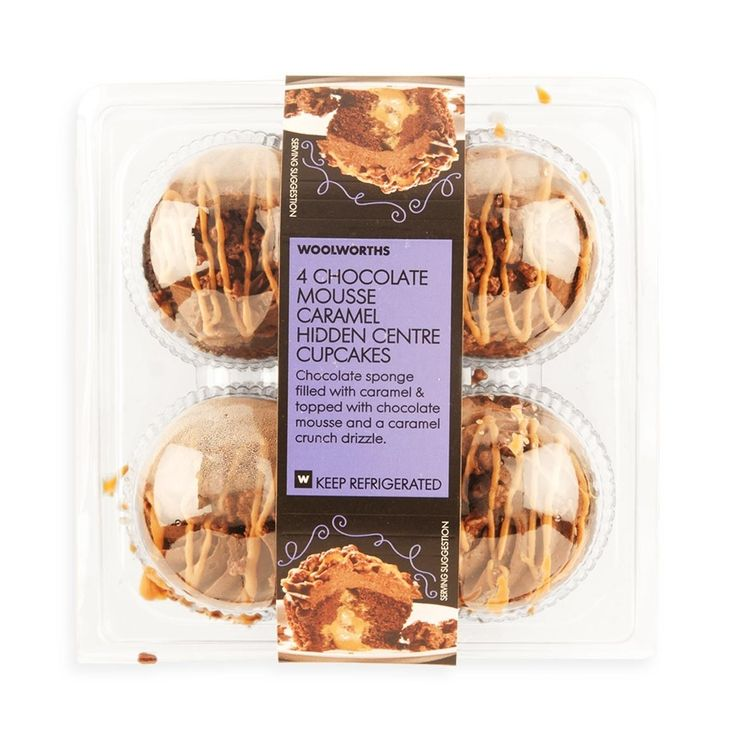 Chocolate Mousse Caramel Hidden Centre Cupcakes 4Pk | Woolworths.co.za