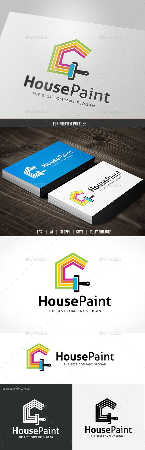 House Paint Logo Design Template Vector #logotype Download it here:  http://graphicriver.net/item/house-paint/10810543?s_rank=754?ref=nexion