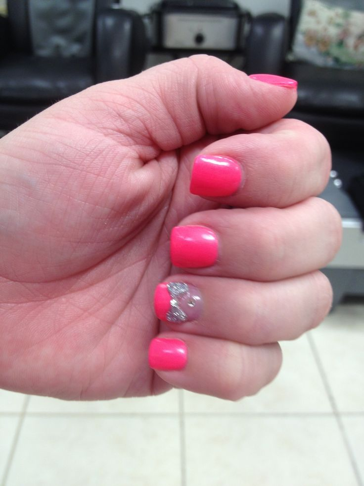 Pink nails - silver bow | Nail designs | Pinterest | Pink ...