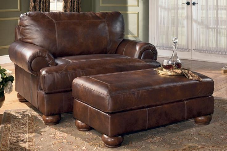 Best Ashley Ramsey Brindle Leather Chair And A Half Home 640 x 480