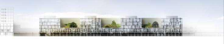 Rendu géometral et images de conception d'un laboratoire à Pessac, pour Brunet-Saunier Architectes, par les perspectivistes de Renderstorm
