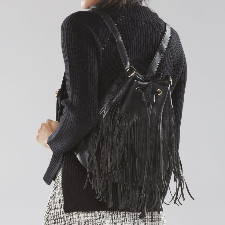 Convertible Fringe Backpack
