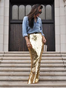 Gold Paillettes Sequin Maxi Skirt
