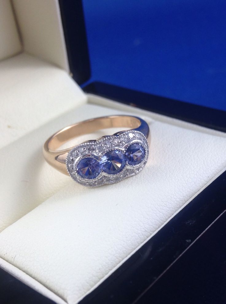 18ct rose and white gold Ceylon sapphire and diamond ring. Vintage reproduction style. Handmade jewellery. Made by Macchia Jewellery, Horsham Victoria