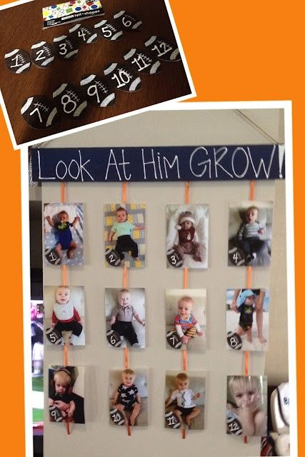 I love this idea, except i would usea picture from each month for my youngest boys and then after they are a year, use a pic from each birthday, and do the same for my 4 year old #Party Ideas  http://partyideacollectionsconner.blogspot.com