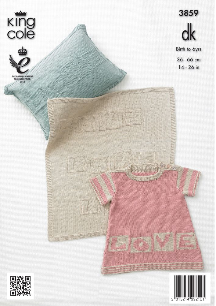Childrens' Dress, Hoodie, Blanket and Cushion in King Cole Bamboo Cotton DK - 3859