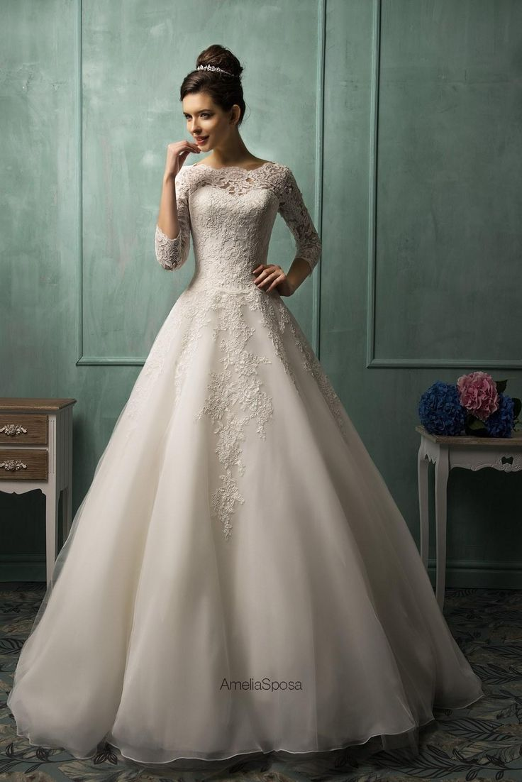 Wholesale Ball Gown Wedding Dresses - Buy Amelia Sposa Inspired 2014 Ball Gown Wedding Dress Appliqued Organza Bridal Gown with Scalloped Neck And 3/4 Long Sleeves, $139.74 | DHgate