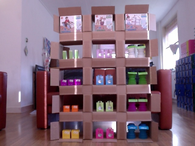 Self Made Recycled Room Divider From Cardboard Boxes Www Pinkandgreen Nl