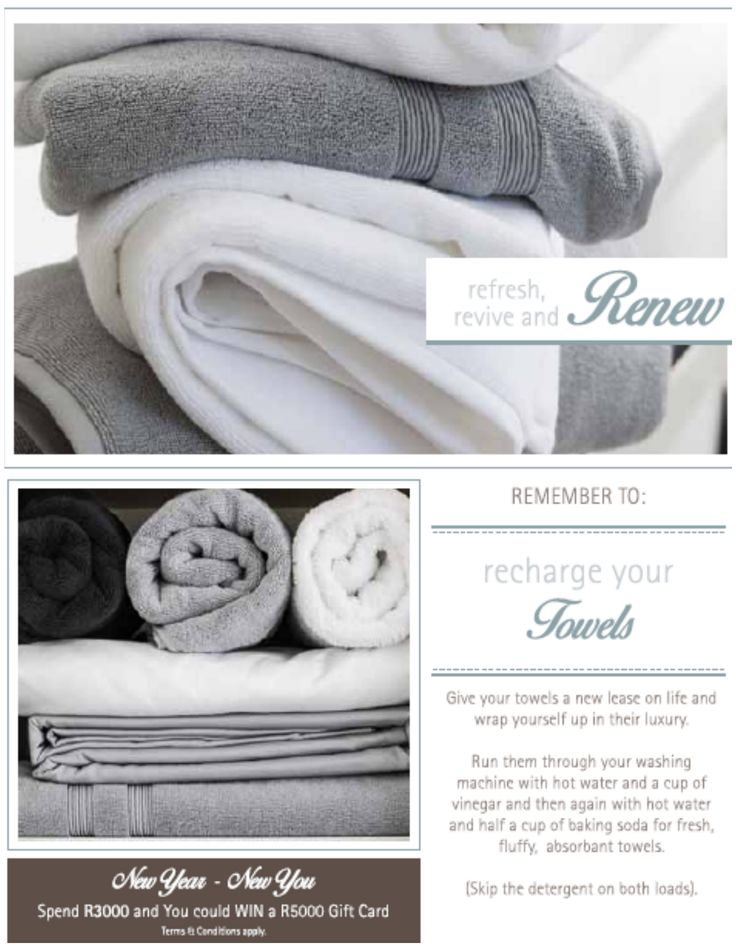 To keep your towels soft, clean and fresher for longer, make sure you're not using too much detergent. Too much detergent leaves a residue and hardens your towels.  #LoadsofLiving #SouthAfrica #tips #interiors on.fb.me/20glqXJ