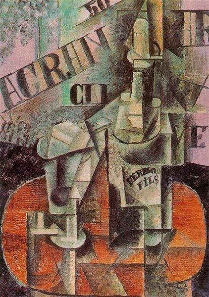 Pablo Picasso, Table in a Café (Bottle of Pernod), 1912, Hermitage Museum, Saint Petersburg