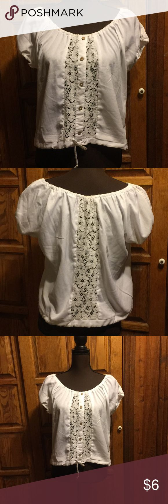 Charlotte Russe Peasant Top Cute peasant top by Charlotte Russe. Gently used and in good condition. 60/40 cotton poly blend. Smoke free home. No trades. Charlotte Russe Tops Blouses