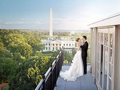 The Hay Adams in Washington, DC has stunning view of the National Mall and Washington Monument.