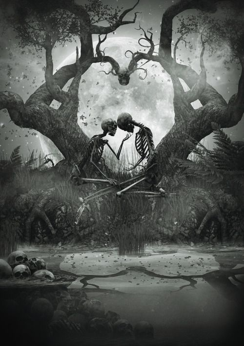 scary love tree white forever moon black edit kiss dark heart skull together skeleton ligafrankorn