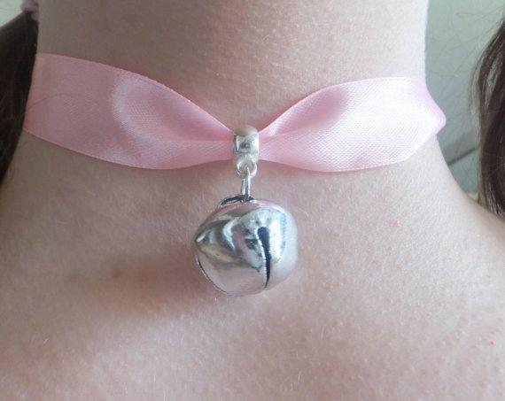Cosplay Pink Ribbon & Silver Cat Bell Collar Choker Neko Outfit Costume Japanese Lolita Kawaii Kitty Halloween Festival