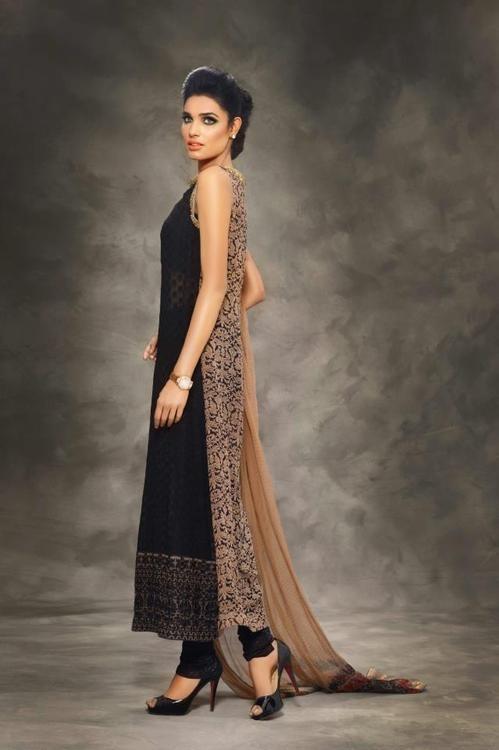 Pakistani dress. Couture. Half. Black and beige. Kurta.
