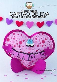 """Diaespecial é o dia dos namorados! É hoje vamos aprender como fazer um Coração de EVA com a frase """"Eu te Amo"""" para você dar de presente no Dia dos namorad"""