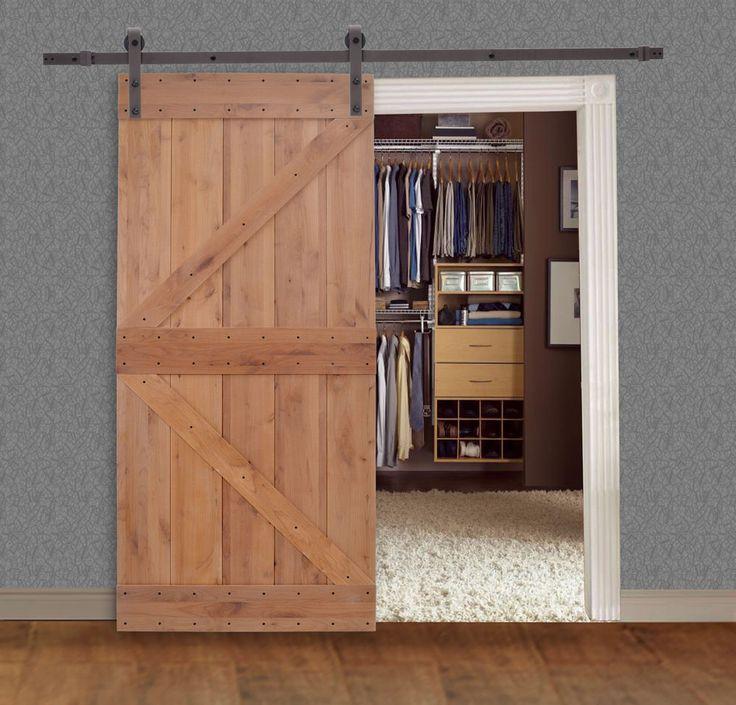 Solid Core Knotty Alder Natural Primed Barn Door With Sliding Hardware Track Set Ebay Knotty Alder Doors Knotty Alder Contemporary Interior Design