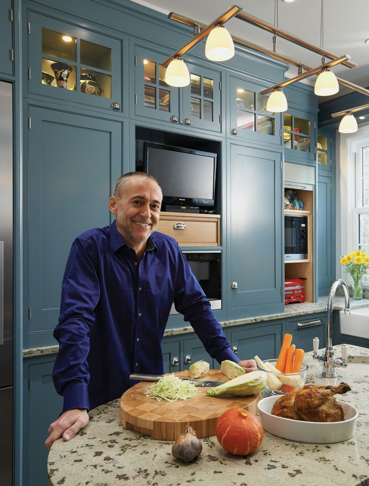 Michel Roux Jr in his New England style Mark Wilkinson Furniture kitchen