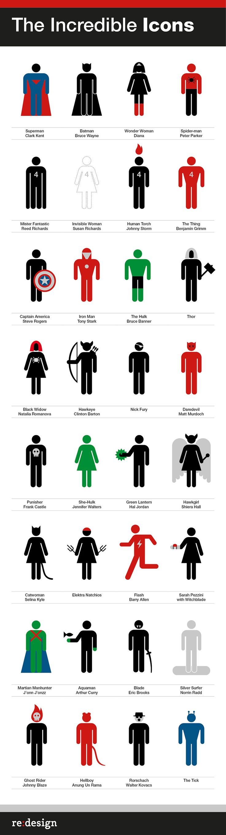 Íconos superheróicos de Re:design