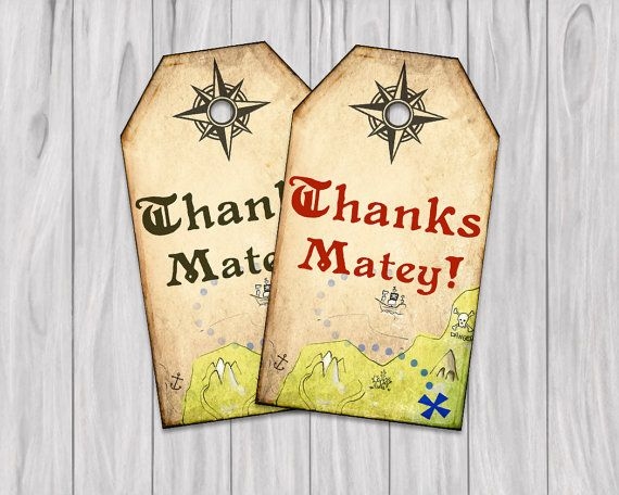 "Printable Pirate Thank You Tags Treasure Map Birthday Pirate Party 4""x2.25"" Instant Download"