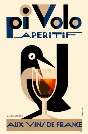Pi Volo Aperitif ~ By Adolphe Mouron Cassandre http://www.allposters.nl/-sp/Pi-Volo-Aperitif-Poster_i2880858_.htm