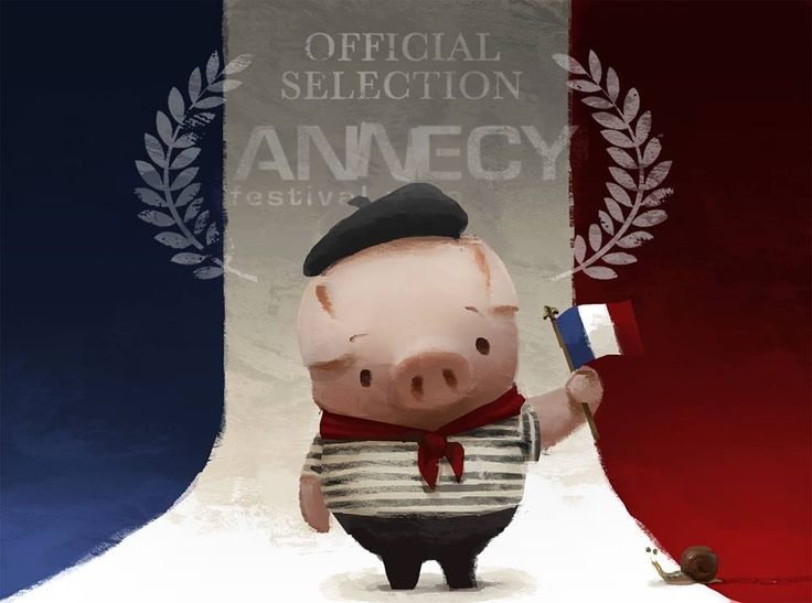 Pig looks good in a béret doesn't he! It's a TOTAL dream come true of ours, The Dam Keeper is an official selection of the 2014 Festival international du film d'animation d'Annecy taking place this June in Annecy, France!  www.thedamkeeper.com