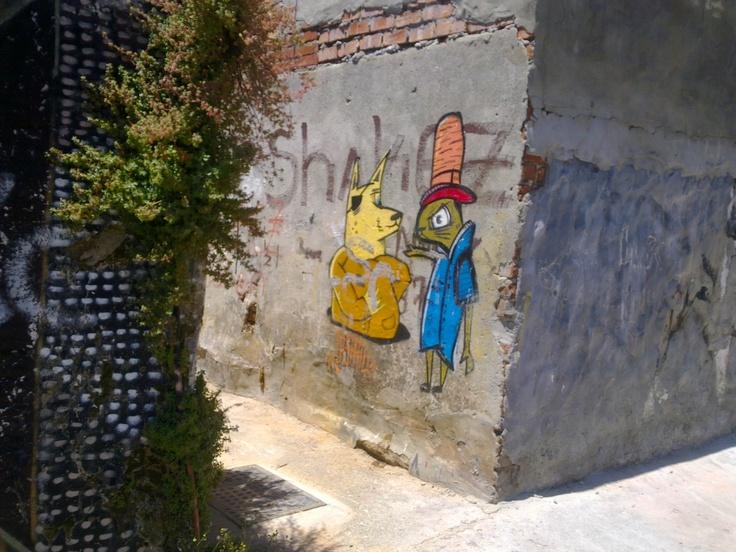 "More random Woodstock graffiti art. ""gimmi ya money"""
