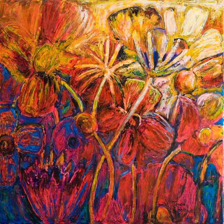 'Poppy perfume' by Jeremy Holton One of a series or large flower paintings which are a celebration of life and colour. Go into the room where this painting hangs in the morning and it will sweeten your day.